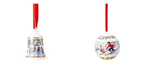 Hutschenreuther Set of 2 2018 Christmas Ornaments, Porcelain Christmas Bell 2018 and Porcelain Christmas Ball 2018, Porzellan Weihnachtsglocke 2018 and Porzellan Weihnachtskugel 2018
