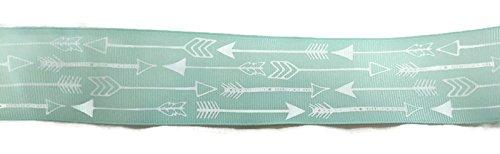 Mint Green/White Arrow Grosgrain Ribbon - 3 Yards