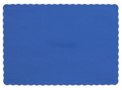 50 Royal Blue Paper Place Mats Scalloped Edge 10x14