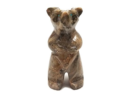 Hand Carved Marble Stone Standing Bear - Stone Bear Pendant