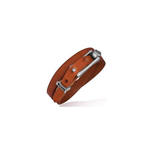 (Genuine Light Brown Leather Double Wrap Skull Stud Belt Buckle Biker Bracelet Length:)