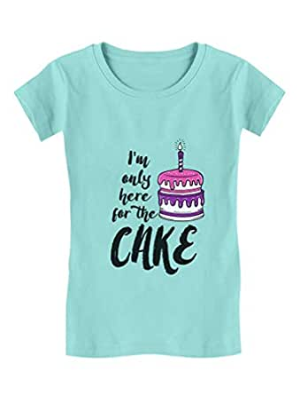 Birthday Party - I'm Only Here for The Cake Girls' Fitted Kids T-Shirt Small Chill Blue