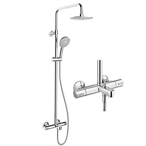 ZHBH Thermostatic Waterfall Rainfall Shower, Column Tub Spout Hand Shower Body Massage Jets Shower Set Tap Functions Temperature Display Shower Column Spout Filter Faucet
