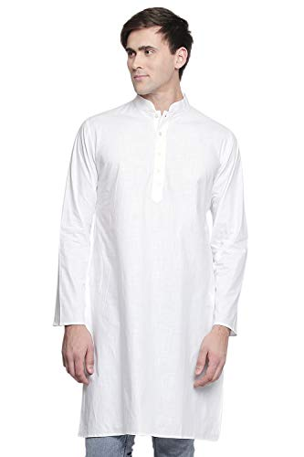 1d4a785dcd142a In-Sattva Men s Indian Banded Classic Collar Pure White Cotton Kurta Tunic