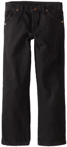 Wrangler Boys' Cowboy Cut Relaxed Fit Jean, Overdyed Black Denim, 10 -