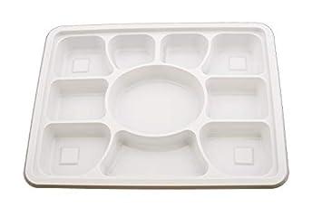 25 bandejas desechables de plástico blanco con 10 compartimentos