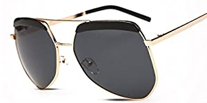No.66 Town Unisex Oversized UV400 Gold Frame Black Lens Polarized Aviator Sunglasses