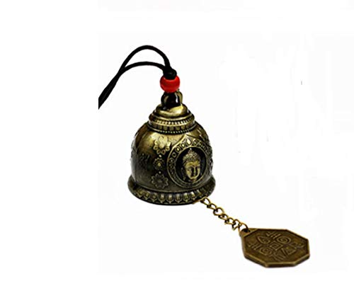 DMtse Chinese Lucky Feng Shui Buddha and Bagua Vintage Bell for Wealth and Safe, Success, Ward Off Evil, Protect Peace - Home Garden Car Interiors Hanging Charm Wind Chime Good Luck Blessing (Buddha)