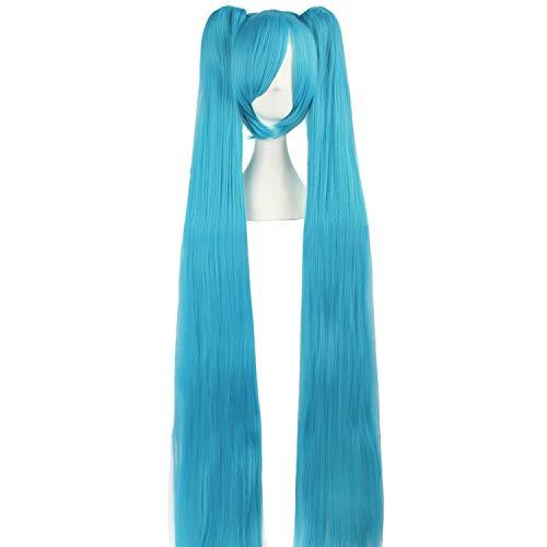 "MapofBeauty 47""/120cm Fashion Long Straight wig Cosplay wig (Cyan Blue)"