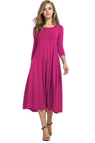 HOTOUCH Women Simple Designed 3/4 Sleeve Casual Flared Midi Dress (Pink L)