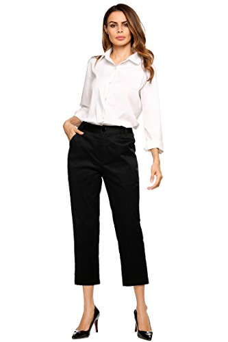 Black Pants,Womens Power Stretch Skinny Cropped Pants Solar Millennium Ankle Pant