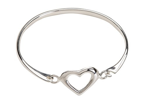 Children's Sterling Silver Open Heart Bangle Bracelet for Girls (6-13 Years)