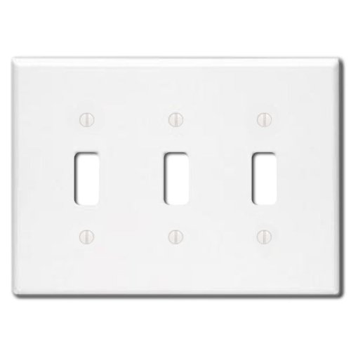 Leviton 88011 001-000 3-Toggle Standard Size Wall Plate, 3 Gang, 4.5 in L X 6.38 in W 0.22 in T, Smooth, 1-Pack, White