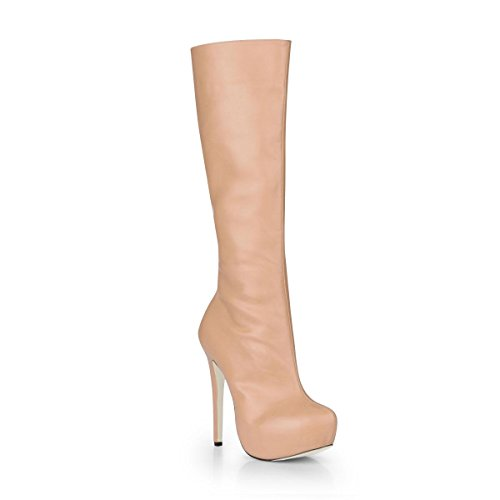 Sole Toe Apricot Winter Round Women's Rubber Boots Boots PU Best Premium Platform 3CM Heels 14CM Stiletto High 4U Shoes Zipper High KUKIE aw8q4fg8