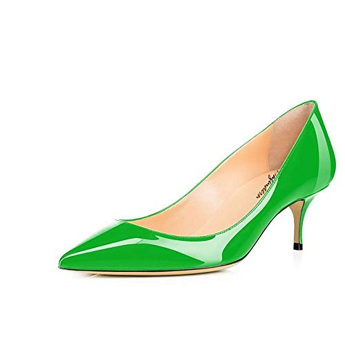 Maguidern Women's Green Patent Leather Pointed Toe 2 1/2 inches Mid-Heels Working Pumps Evening Party Stiletto Shoes Size 9.5 M US ()