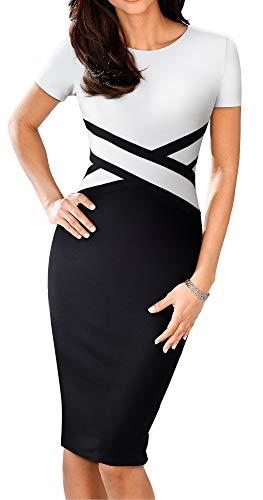 (HOMEYEE Women's 3/4 Sleeve Colorblock Sheath Pencil Church Dress B463 (4, White-Short)
