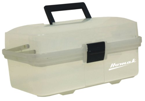 - Homak 13-Inch Plastic Transparent Toolbox with 2 Tray Tier, TP00113067