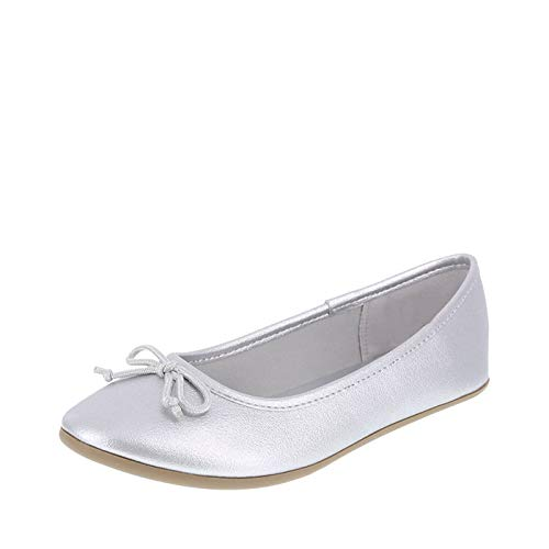 Zoe and Zac Girl's Textured Silver FAE String Tie Flat Big Kid Size 3.5 Regular -