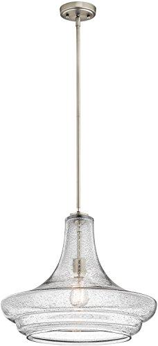 Kichler 42329NICS, Everly Blown Glass Cone Pendant, 1 Light, Brushed Nickel
