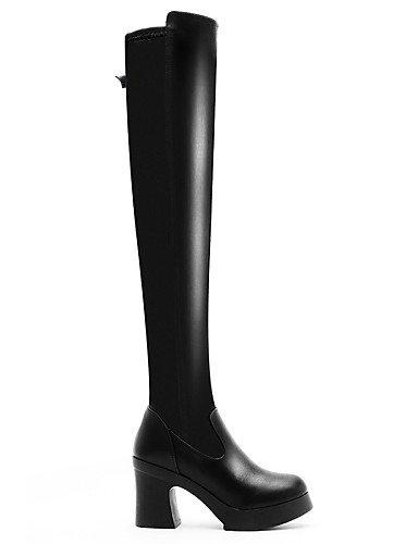 Vestido Moto A Eu39 5 Y us8 Fiesta Noche Zapatos La Botas Black Cn39 Uk6 Sintético 5 Cn35 De Moda Black Casual Uk3 us5 Negro Tacón Xzz Mujer Robusto Eu36 wvpzqpYn