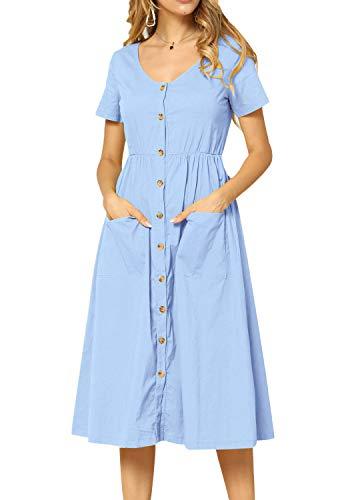 Womens Summer Casual Swing Short Sleeve Pockets Beach Dress Sky Blue 6