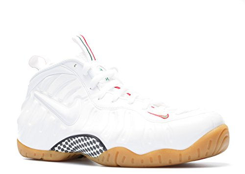 Nike Men s Air Foamposite Pro White White Gym Red Grg Green Basketball Shoe 10.5 Men US