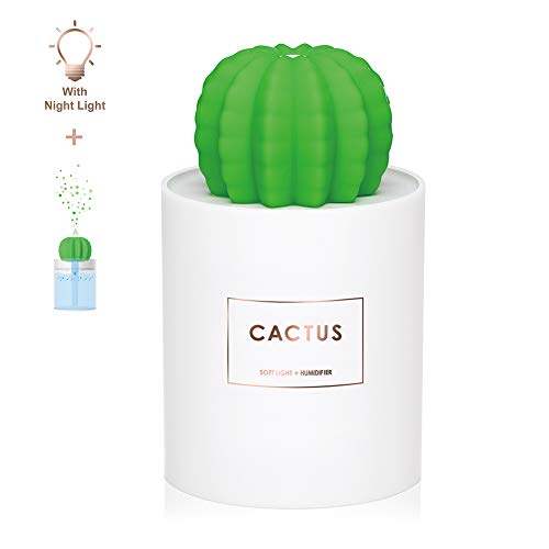 AmuseNd USB Cool Mist Humidifier with Night Light, Mini Size Cactus Humidifier for Bedroom Home Office Car 280ml 50ml/h with Timed auto Shutdown