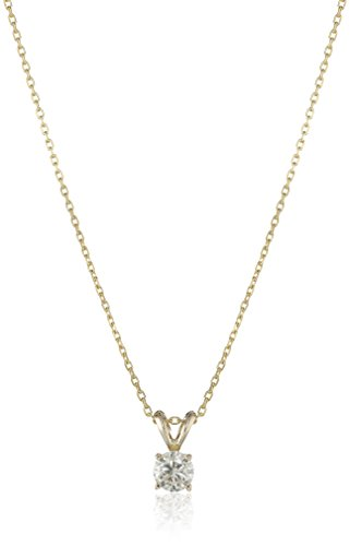 14k Yellow Gold Round-Cut Diamond Solitaire Pendant Necklace (1/2cttw, K-L Color, I1-I2 Clarity), 18