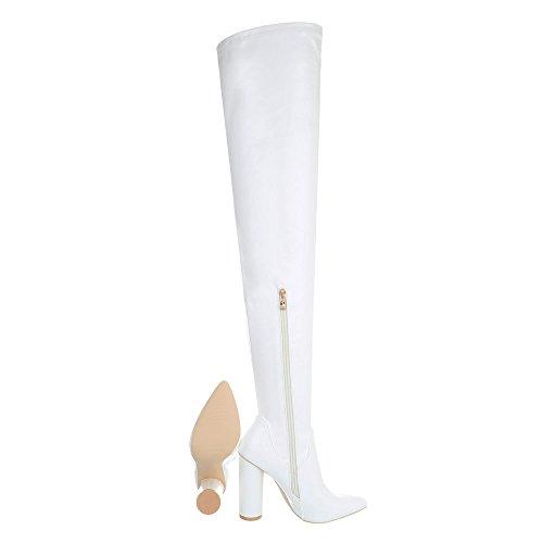 Damenschuhe Overknees Ital Weiß High Stiefel Heels Reißverschluss Overknees Pump Design q4qwptE