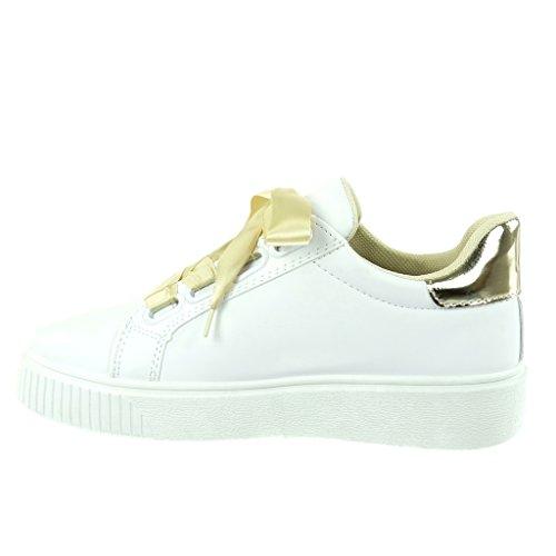 Tacco Lacci Verniciato Scarpe Sneaker Oro Piatto In Donna Moda 4 Tennis Raso Angkorly Cm qSw8anfz8
