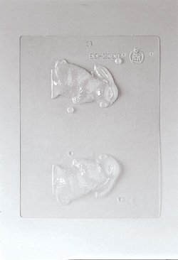Paderno World Cuisine Single Imprint Polypropylene 3.375 Inch Crouching Bunny Chocolate Mold (Front and Back) ()