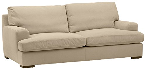 "Stone & Beam Lauren Down Filled, Overstuffed Sofa, 89"" W, Fawn"