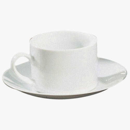 Ten Strawberry Street Royal White - 8 Oz Can Cup And Saucer - Set Of 6