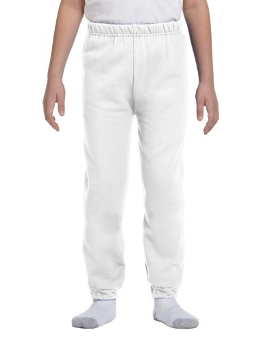 Jerzees Youth Elastic Waist Pill Resistant Fleece Sweatpant, Wht, (White Youth Sweatpant)
