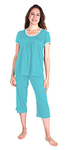 Wicking Pleated T-Shirt Capri Set (2X, Island)