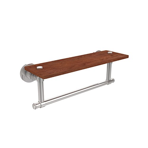 Allied Brass WS-1TB-16-IRW-PC Washington Square Collection 16 Inch Solid IPE Ironwood Shelf with Integrated Towel Bar Polished Chrome
