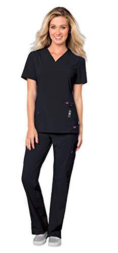 (Landau Smitten Women's Scrub Set Bundle - S101002 Rock Goddess V-Neck Top & S201002 Hottie Cargo Drawstring Flare Leg Pants & Marc Stevens Badge Reel (Black - X-Small/X-Small))