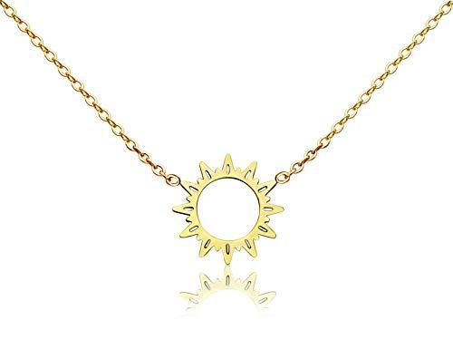 KristLand - 18k Gold Plated Titanium Steel Cute Sun Flower Short Necklace Rose Gold Color Delicate Adjustable Choker Gold Sunshine