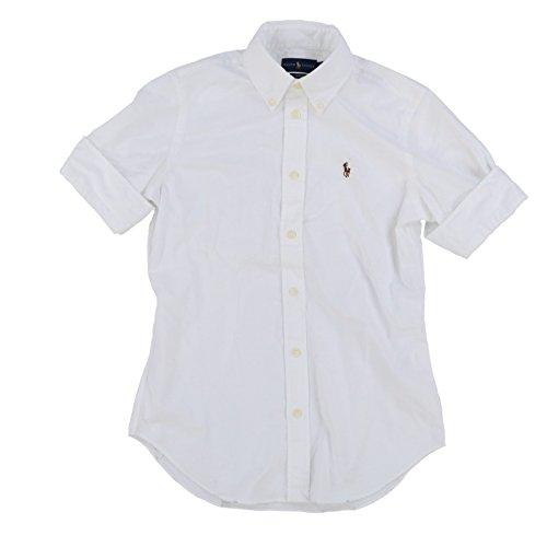Shirt Oxford Pony Big - RALPH LAUREN Polo Women's Short Sleeve Slim Fit Oxford Shirt, White, Medium