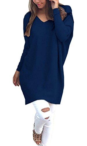 Scollo V Con A Donne Maglione Top Ladies Lavorato Allentato Pullover Lunga Maglia Blu Minetom Camicetta Felpe Casuale Scuro Manica ng0Xxxw
