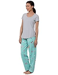 PajamaGram Women's Short Sleeve PJs Printed Two Piece Pajama Set