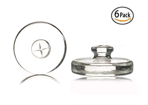 6 Premium Fermenting Weights, Heavy Hand-Crafted Glass Fermentation Weights with Easy Handle for Wide Mouth Mason Jar Fermenting Sauerkraut, Pickles, Kimchi and More Home Fermented Foods