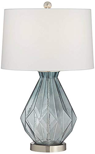 Stacey Geometric Blue Glass Table Lamp - 360 Lighting