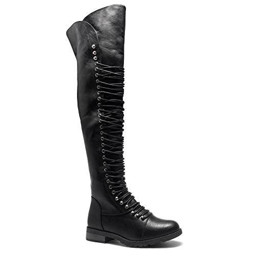(Herstyle Kristrrina Women Military Lace Up Thigh High Combat Boots Black)
