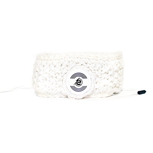 Earebel White Hand Knitted Headband with Built-In White AKG Headphones, Soay by Earebel powered by AKG