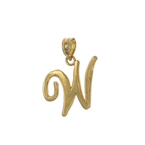 14k Yellow Gold Letter Charm Pendant, W Script Initial, H...