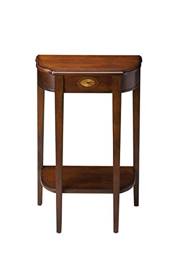 Wood Console Table with Gloss Finish - Console Table with 1 Shelf - Plantation Cherry