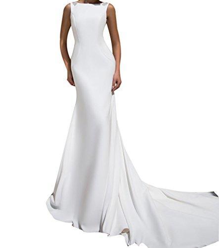 Zipper Satin Wedding Dress - 3