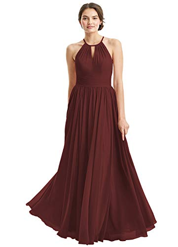 (Women's A-Line Chiffon Halter Long Bridesmaid Dresses Pleats Sleeveless Hollow Evening Formal Party Gowns Size 4 Burgundy)