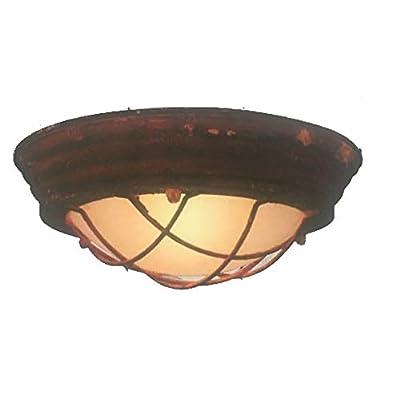 Brilliant Typhoon – Lampada da parete in vetro, 29 cm, rotonda, colore: Ruggine/Bianco 30 W